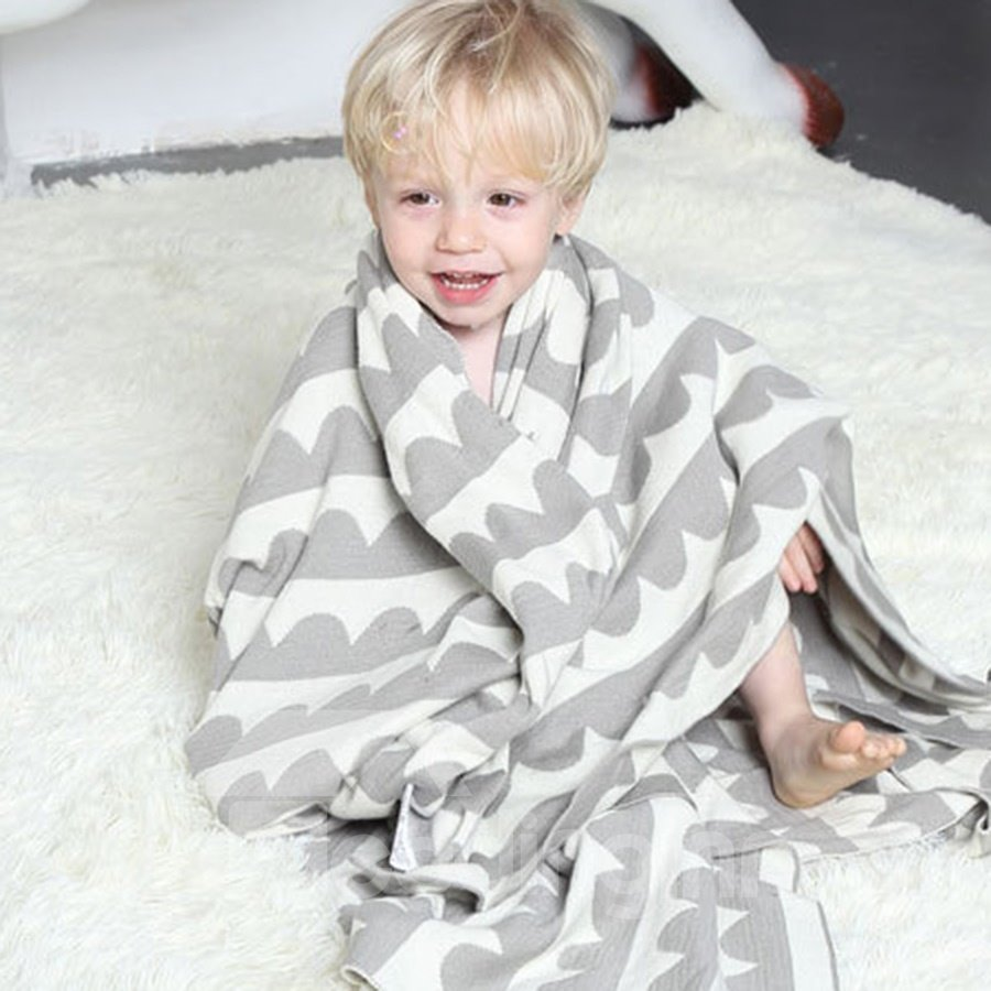 Geometric Pattern Cotton Material Knitting Technics Baby Blankets