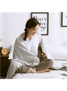 Stripe Pattern Cotton Material Rectangle Shape Thread Blanket