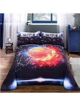 Basketball Pattern Cotton Material 3D Printing Technics Hand Wash Quilt