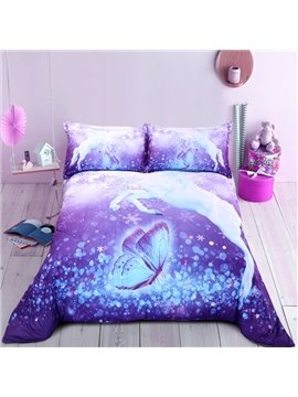 Horse&Butterfly Pattern Cotton Material Simple Style 3D Printing Technics Quilt