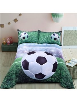 Soccer Pattern Simple Style Cotton Material 3D Printing Technics Quilt