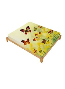 New Custom 3D Reactive Printing Yellow Butterfly 100% Cutton Fitted Sheets
