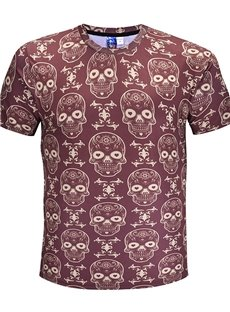Skulls Pattern Polyester Material Regular Sleeve Type Straight Model T-shirt