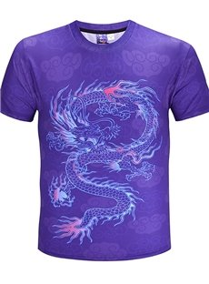 Dragon Pattern Straight Model Polyester Material Regular Sleeve Type T-shirt