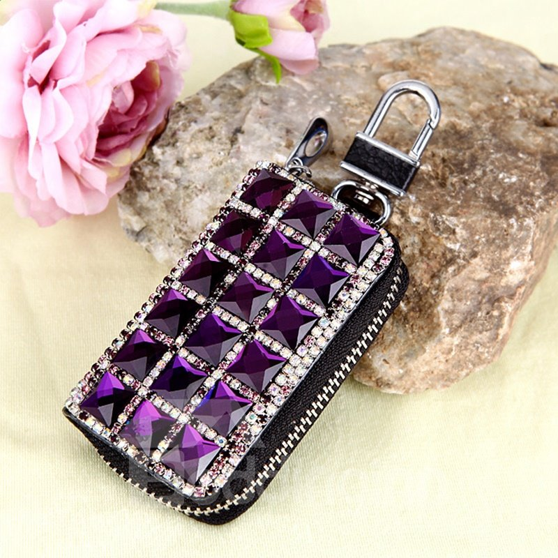 Genuine Leather Women Purple Set With Diamond Car Key Case
