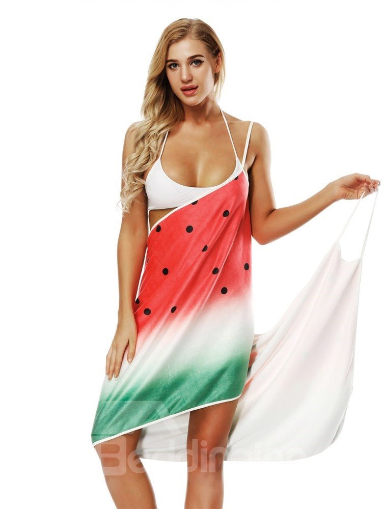 Polyester Material Watermelon Pattern Rectangle Silhouette Beach Shawl