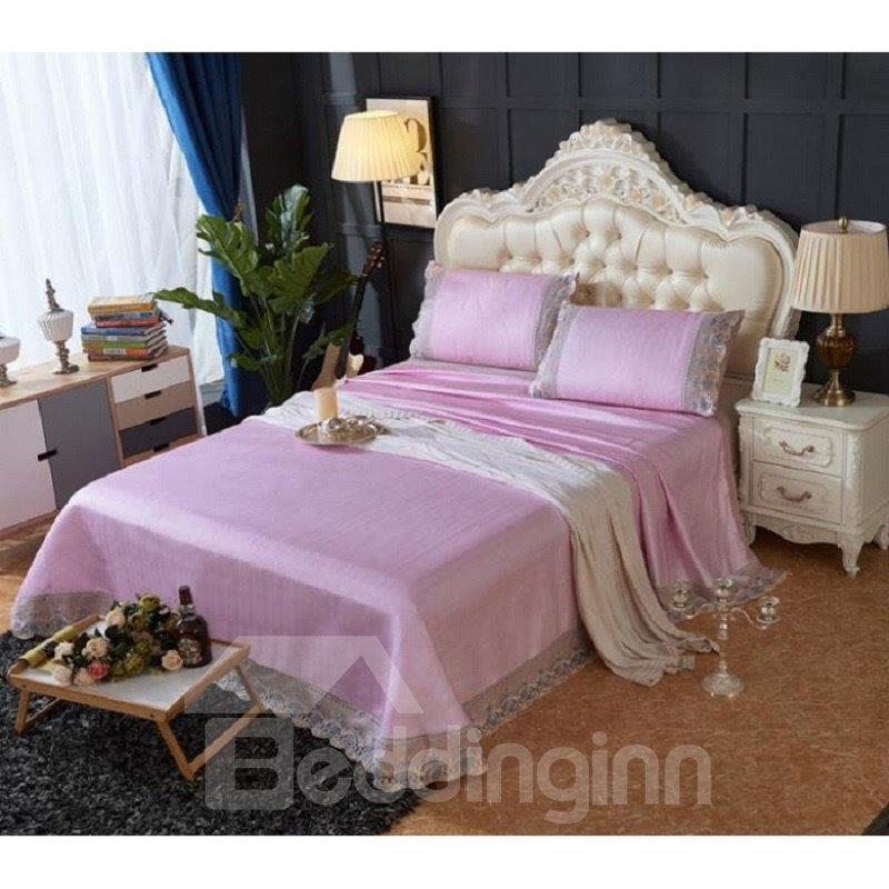 Light Purple Lace Polyester Sheet Style 3-Piece Summer Sleeping Mat Sets