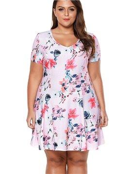 Print Embellishment Floral Pattern A-Line Silhouette High-Waist Plus Size Dress