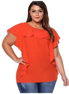 Falbala Embellishment Round Neck Loose Model Ruffle Sleeve Plus Size Tops