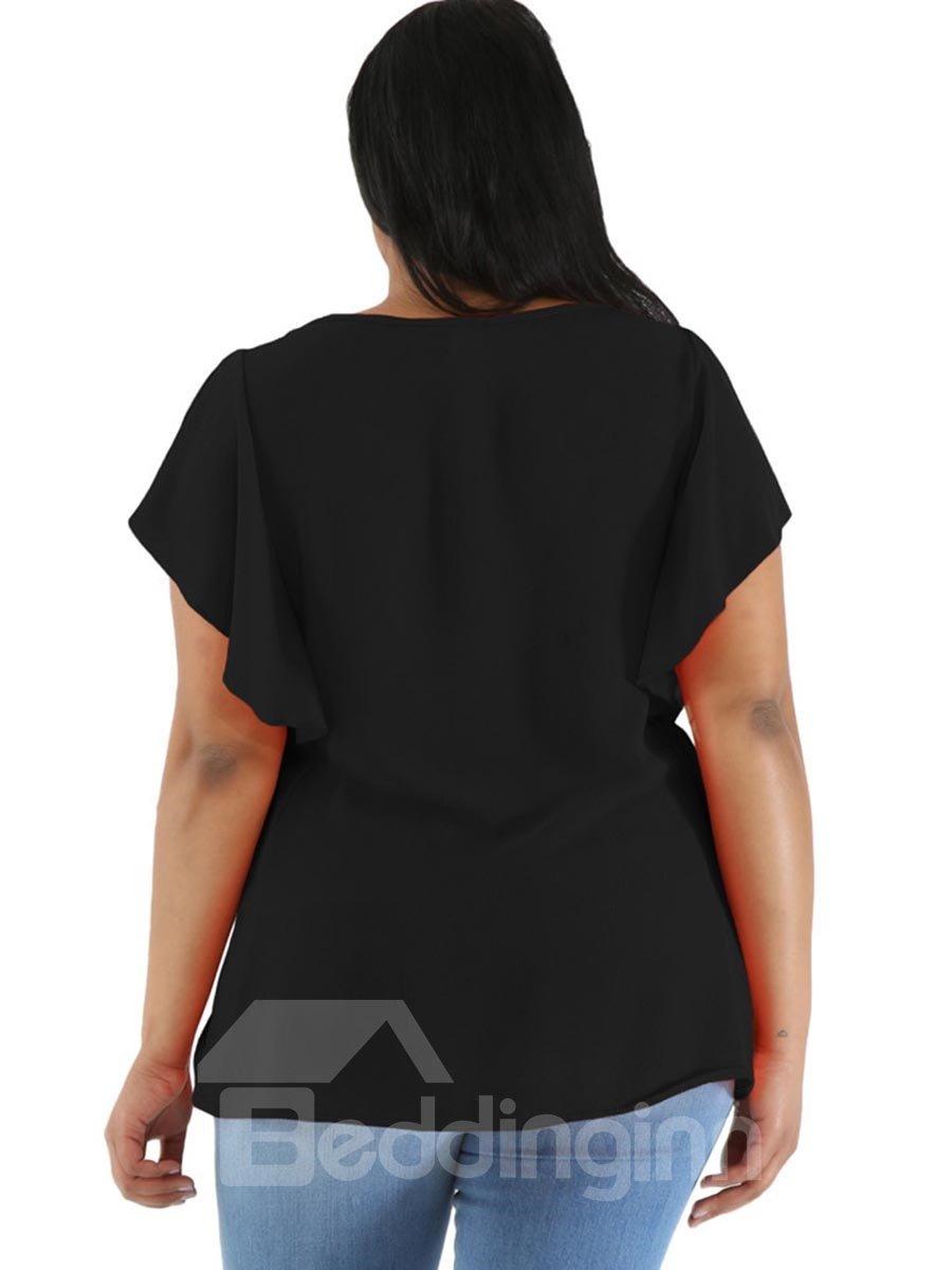 Falbala Embellishment Round Neck Loose Model Ruffle Sleeve Plus Size Tops