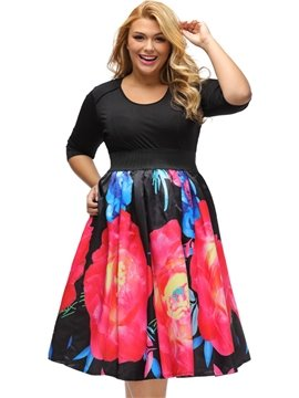 Floral Pattern Regular Sleeve Type Pullover Closure Polyester Material Plus Size Dress