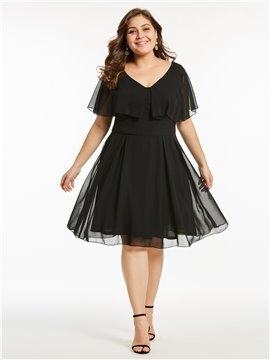 A-Line Silhouette High Waist Line Cotton Blends Material Plus Size Dress