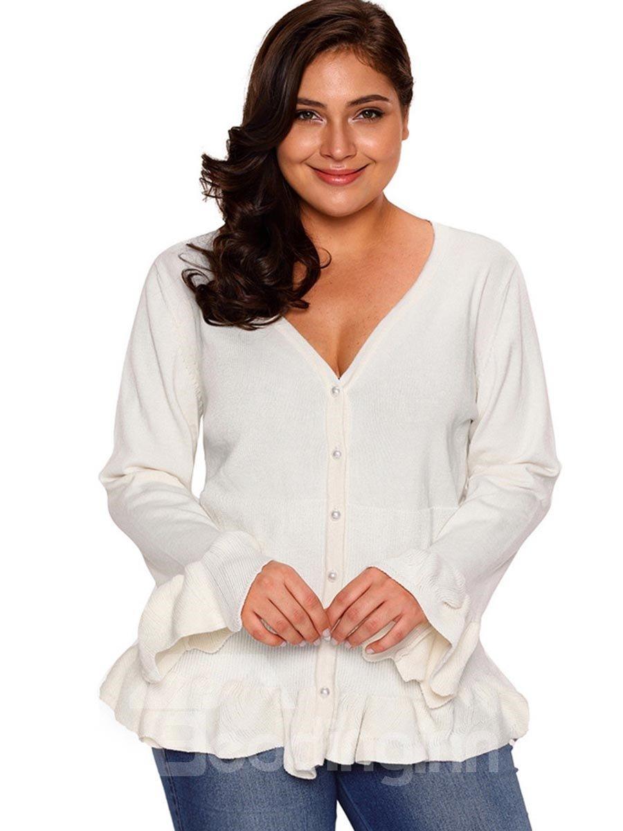 Acrylic Material Flare Sleeve V-Neck Slim Model Plus Size Cardigan Sweater