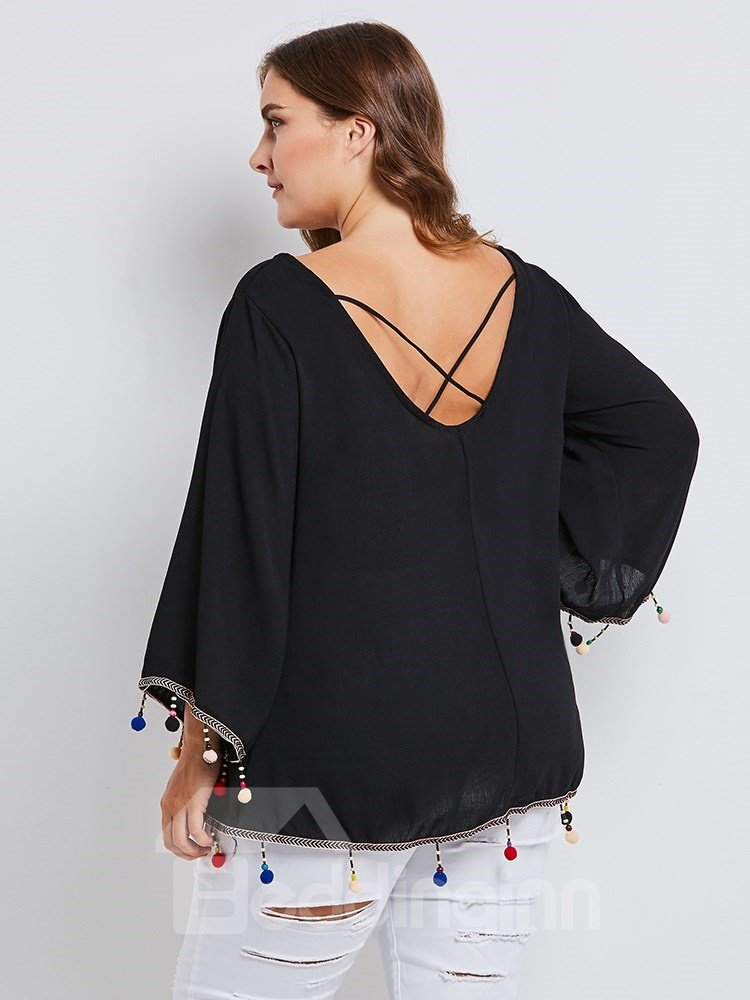 Polyester Material Flare Sleeve Plain Pattern Round Neck Plus Size Pullover Coat