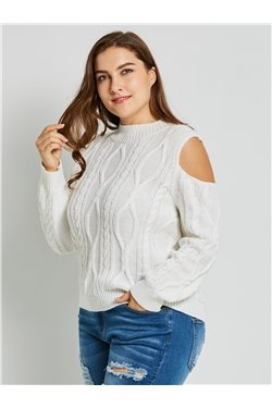 Plain Pattern Round Neck Standard Length Slim Model Plus Size Sweater