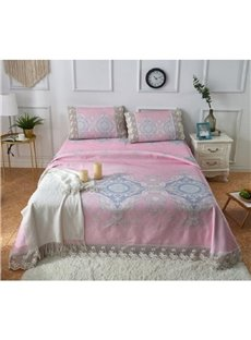 Geometric Pattern Pink Printing Lace 3-Piece Polyester Summer Sleeping Mat Sets
