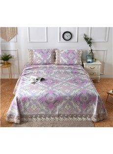 Diamond Shape Design Lace Printing 3-Piece Polyester Summer Sleeping Mat Sets