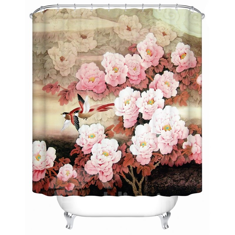 Magpie&Sakura Pattern Polyester Material Bathroom Shower Curtain