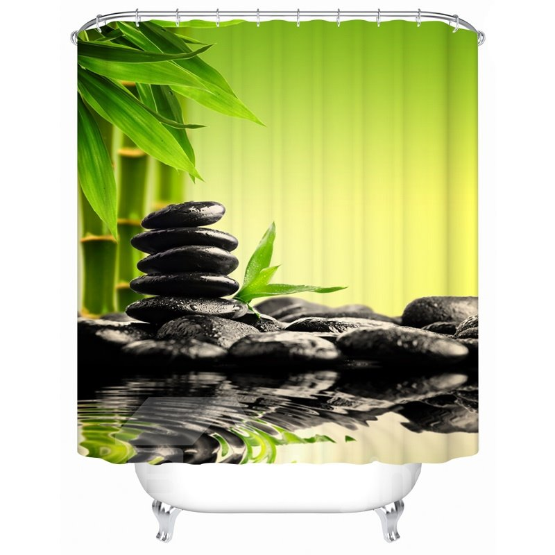 55 Polyester Material Bamboos Stones Pattern Mold Resistant Shower Curtain