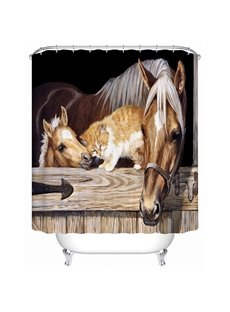 Mildew Resistant Horse&Cat Pattern Polyester Material Shower Curtain