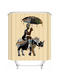 Rhinoceros Pattern Polyester Material Mildew Resistant Shower Curtain