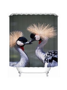 Cranes Pattern Dust Resistant Waterproof Polyester Material Shower Curtain