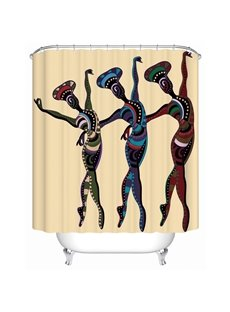 Dancers Pattern Polyester Material Mold Resistant Bathroom Shower Curtain