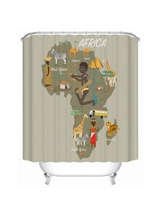 Map Pattern Mildew Resistant Waterproof Polyester Material Shower Curtain