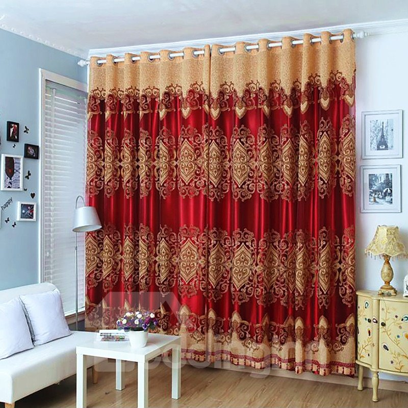 Blackout Feature Royal Plant Pattern Polyester Curtain Sets Pic