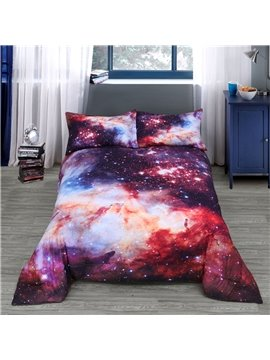3D Red Galaxy Starry Reactive Printing Polyester Quilt