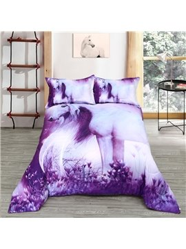 3D Purple Horse Reactive Printing Polyester Quilt