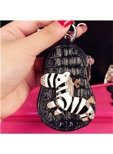 Zebra Design Genuine Leather Women Car Zipper Key Case