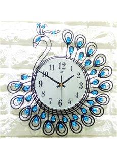 Peacock Pattern Iron Art Material European Style Wall Clock