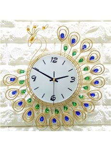 Peacock Pattern Iron Art Material Stopwatch Movement Wall Clock