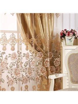 Blackout Luxury Solid Golden Custom Sheer for Living Room and Bedroom