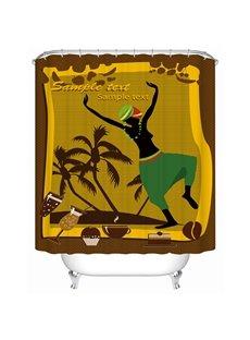 Coconut Tree Pattern Waterproof Moist Resistant Shower Curtain