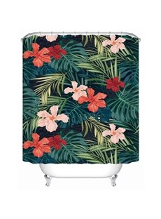 Floral Pattern Waterproof Dust Resistant Polyester Material Bathroom Shower Curtain
