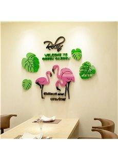 Leaf And Flamingo Pattern Cartoon Animal Acrylic Wall Sticker