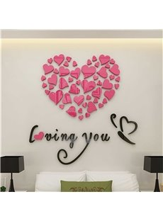 Love Letters And Loving Heart Pattern Acrylic 3D Wall Sticker