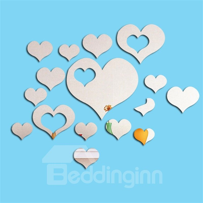 Loving Heart Pattern Acrylic Adjustable 3D Mirror Surface Wall Sticker