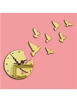 Birds Clock Pattern Wall Decoration Acrylic 3D Wall Sticker