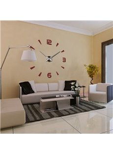 Clock Pattern Acrylic Fashionable DIY Mirror Surface Wall Sticker