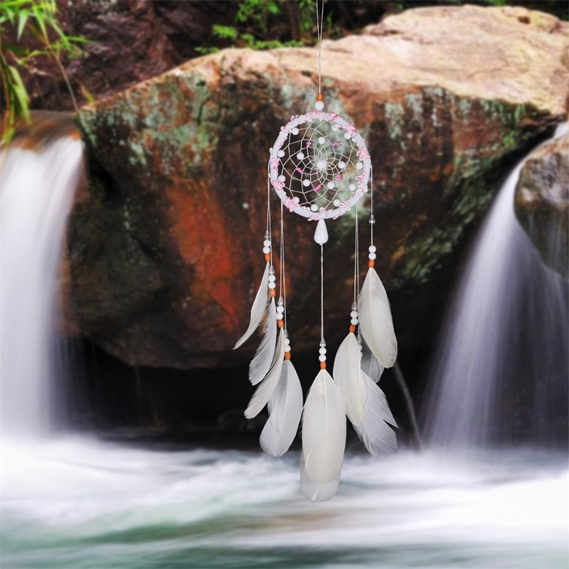 Pink and White Feather Lucky Dreamcatcher Creative Gift Holiday Decoration
