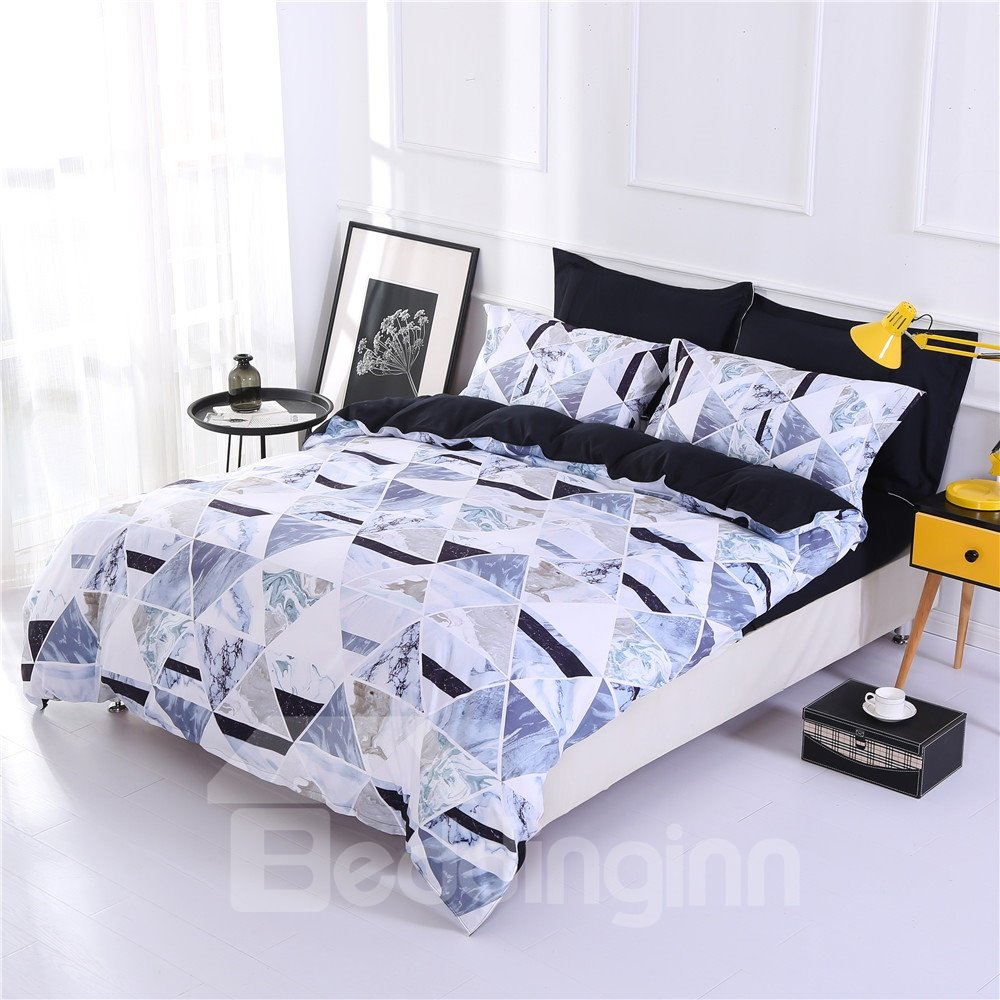 Rhombus Marble Pattern Printing Polyester 4-Piece Bedding Sets/Duvet Cover