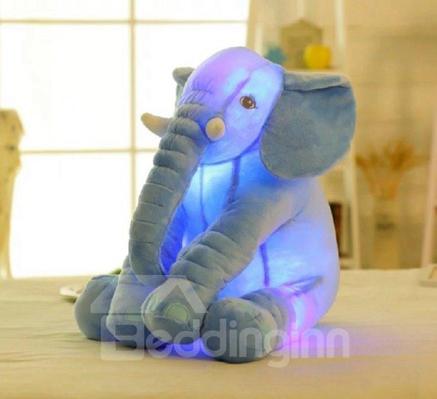 Elephant Shaped Glowing Soft Plush Throw Pillow