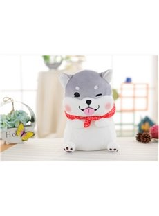 Cute Gray Husky Shaped Soft Plush Throw Pillow