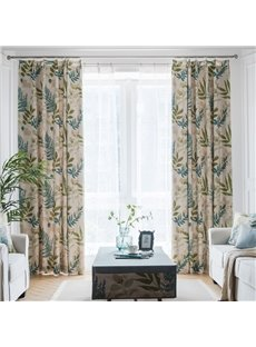Plant Pattern Blackout Feature Polyester Material Jacquard Technics Curtain Sets