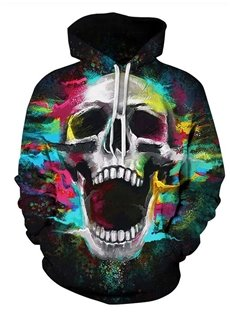Long Sleeve Colorful Skull Pattern 3D Painted Hoodie