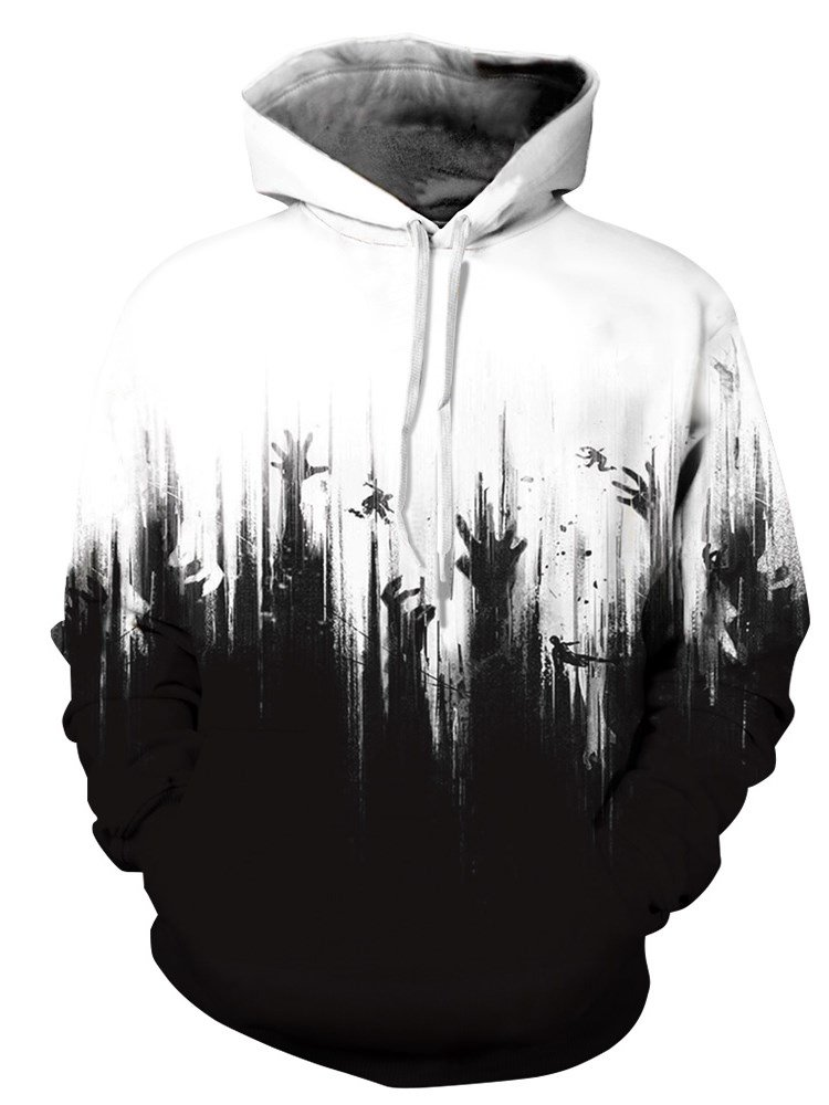 Cool Long Sleeve White and Black Hands Pattern 3D Painted Hoodie