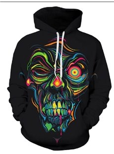 Long Sleeve Black Skull Pattern 3D Painted Hoodie